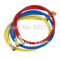 Wholesale High grade AC A C Refrigeration R134a Charging Hose SAE PSI Set quot Yellow Blue and Red Tricolour Tube Refrigerant Pipe order lt no t
