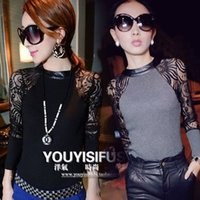 Wholesale Fashion Lace Patchwork Leather Ladies Knitted Bottoming Shirt