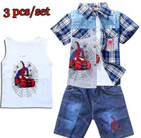 Wholesale Boys Clothes Kids Clothing Baby Boy Shirts Vest Tops Shorts Pants Jeans Summer Cartoon Cars Spider Man Cowboy Sets Short Sleeve Blue I2774