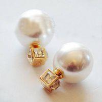 angle face - Classic Fashion Brand Double Face Big Pearl Earrings Multi angle Ball Shape Pearl Earrings Crystal Earrings For Women DHE136