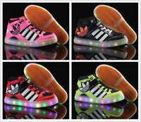 led floor light - Adidas Children s Athletic Shoes For Boys Girls LED Light Skate Shoes Kids Casual Boots Babys Cheap Cute Size US C Y