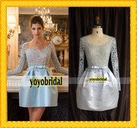 Cheap Real Image 2015 Embroidery Zuhair Murad Short Prom Dresses A line With Long Sleeves New Evening Formal Pageant Dress Gowns Custom 2015