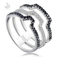Wholesale Brand New S GYO sz Favourite sterling silver jewelry Best Sellers Fancy White and Black CZ Cubic Zirconia rings