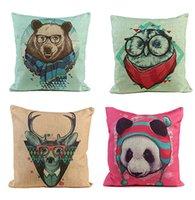 Wholesale 4 Styles Pillowcase Cotton Linen Square Cushion Cover Cartoon Animal Pattern Sofa Car Decor order lt no track