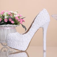 custom shoes - Custom Made Rhinestone Wedding Shoes High Heels Women Shoes Decorated with Pears Lace Wedding Shoes or cm Custom Made Women Shoes