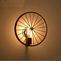 bicycle fixture - Industrail Vintage Iron Bicycle Wheel Wall Lamps Indoor Wall Lighting Fixture for Living Dinning Room Home Lighting Edison Bulb