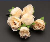 Wholesale Hot Beige Color Tea Rose Flower Head Artificial Flowers Flower Arrangement Wedding Decorating cm