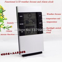 Wholesale LCD Blacklight weather forcase Temperature Thermometer Humidity Meter alarm Tester Clock kids baby and children gifts