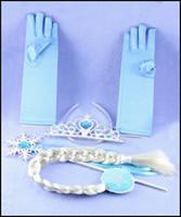 Prettybaby crianças menina congelado Elsa anna tiara + luvas + varinhas mágicas + perucas 4 pcs definir o cabelo se adapte às meninas Acessórios Pt0010 #
