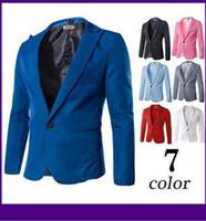 Wholesale New Fasion Blazer Men Special Single Button Multicolor Classic Casual Men s Suit Jacket Cotton Mens Blazer M XXXL dorp shipping