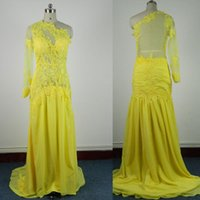 semi formal dress - Yellow Long Sleeves Evening Dress One Shoulder Chiffon Formal Dress Sweep Train Illusion Bodice Applique Evening Gown Semi Formal Gown