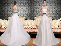 Wholesale Vintage White Simple Lace Wedding Dresses Real Images With Green Sash Bow High Quality Court Train Modern Satin Bridal Gown