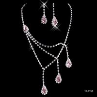 accessories for prom - Shinning Rhinestone Pink Lady Necklace Earring Sets Bridal Accessories Jewelry for Wedding Party Evening Prom In Stock Cheap B