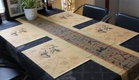 bamboo table runners - retail and wholsale table runners made of bamboo printed chinese ink and wash beaufiul and cheapest