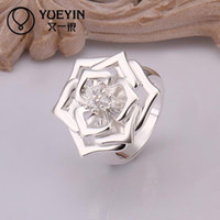 Wholesale 10 pieces a Christmas gift Sterling Silver ring DFMR308 flower Silver new design finger ring for lady