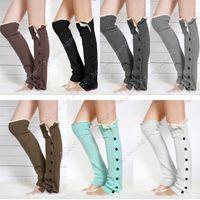 Wholesale 2015 New fashion Women Knee High Knit Flat Button Crochet Lace Trim Leg Warmers Boot Socks SV010585