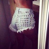 Cheap new women's loose-fitting high waist denim jeans rivet hole ripped casual shorts soft bottom