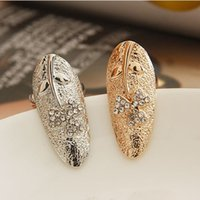 Wholesale Cluster Rings Gemstone Jewelry Clover Finger Nail Rings Rhinestone Rings Gold Silver Color