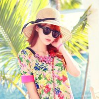 Wholesale Fashionable Women s Brim Summer Beach Sun Hat Straw floppy Elegant Bohemia Cap