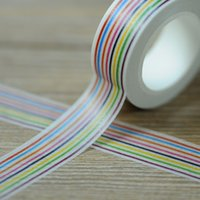 Wholesale latest stripe color rolls cm m paper sticky tape package tape color tape