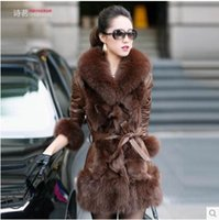Wholesale 2014 new winter women warm long sleeve zip cardigan beaver and lamb Fur high collars coat with belt outerwear WT