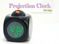lcd talking alarm clock - LCD Clock Talking Projection Voice Sound Controlled Alarm Clock Desktop Digital Clock