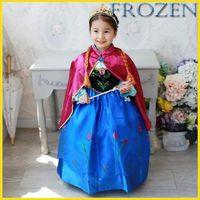 Wholesale 2015 Frozen Elsa Anna Princess Dresses Girls Party Dresses Dress Capes Children Cosplay Dress Baby Christmas Dresses