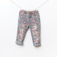 baby jeans leggings - baby girl kids vintage cotton rose flower Jeans flower legging floral Jeans pants legging tights Denim pants pajamas PJ S adjust princess