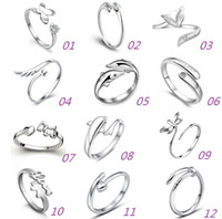 Wholesale 925 Sterling Silver Jewerly Rings Dolphins Dragonfly Wings Of The Angel Love Fox Butterfly Opening Adjustable Ring For Women