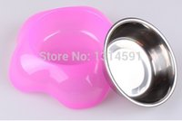 Wholesale Factory Direct set candy color pp Stainless steel Drink Food Dish Feeding bowl for dogs cats pet pets Supplies perro