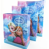 Wholesale Hot Sales Festival Frozen theme Elsa Anna printing plastic hand length handle loot bag shopping Christmas gift bags