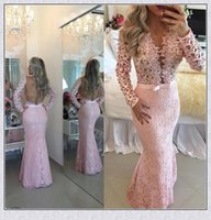 Cheap Baby Pink Evening Dresses Lace Long Sleeves 2016 Prom Gowns Sheer Backless Charming V Neck Floor Length Custom Made