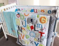 abc baby quilt - ABC Characters Newborn Baby Boy Crib Bedding set pc Cot set Applique Quilt Bumpers Fitted Sheet Skirt Linen kit bebe