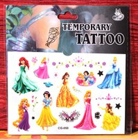 Wholesale cartoon princess Waterproof tattoos body painted fake tattoo arm lower back tattoo paste wh4