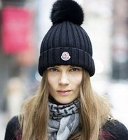 rabbit fur hat - 2015 winter brand mon patch knitted hat hair ball beanies skullies faux rabbit fur pompoms gorros outdoor bonnet hat for women men cap