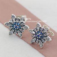 sterling silver earrings - 100 High quality Sterling Silver Crystalized Snowflake Earrings with CZ Stud Earrings Fits European Pandora Jewelry Earrings