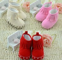 infant winter shoes - Winter Warm Snowboots Infant Baby Cotton Prewalker Moccasins First Walker Shoes Children Shoes Soft Sole Fringe Boots Pink Red Beige K2974