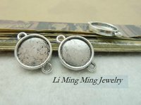 Wholesale x21mm inner size x12mm Antique Silver Blank Tray Cameo pendant cabochon alloy base cameo settings