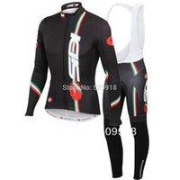 Wholesale men winter fleece cycling Jersey sets with long sleeve bike top bib pants in cycling clothing bicycle wear