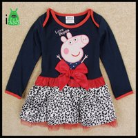 Cheap New style Peppa pig clothing baby clothes Long sleeve Dark blue with Splicing girl dress S148