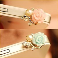 anti dust plug - Hot Pearl Roses Dustproof Earphone Jack Plugs Mobile Phone Floral Anti Dust Plug for Cell Phone iPhone6 S