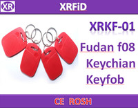 Wholesale RFID tag Type01 MHZ rfid IC keyfob fudan f08 chip keychian comptiable s50 chip keychian Free Ship