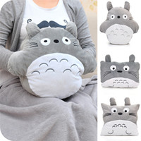 Wholesale Creative Lovely Plush Round My Neighbor Totoro Pillow Cushion Blankets Pillow Air Conditioning Blanket Soft JK10