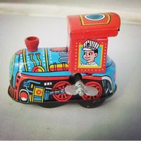Wholesale 2015 Reminiscence Vintage Train Model Wind Up Tin Toy Clockwork Spring Locomotive Classic Toys For Kids