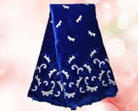 french lace - High quality royal blue African white embroidery velvet lace fabric VHL1 yds Pretty french velvet lace for dress
