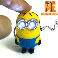 Wholesale 2016 New Arrival Minion LED Light Keychain Key Chain Ring Kevin Bob Flashlight Torch Sound Toy Despicable Me Kids Christmas Promotion Gift