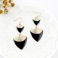 bijoux - Jewelry Bijoux Elegent Gold Color Alloy Colorful Enamel Triangle Shape Long Drop Earrings for Women