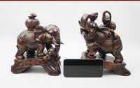 antique elephant figurines - 2 Feng Shui Elegant Elephant Trunk Statue Lucky Wealth Figurine Gift Home Decor