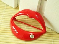 Wholesale Flaming red lips brooch lady clothes decoration