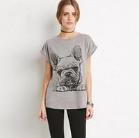 Wholesale 2016 FUN sweet Women T shirt summer Fun French Bulldog cartoon pattern printing short sleeve cotton lady t shirt